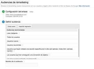Apartado para crear listas de retargeting en Google Analytics